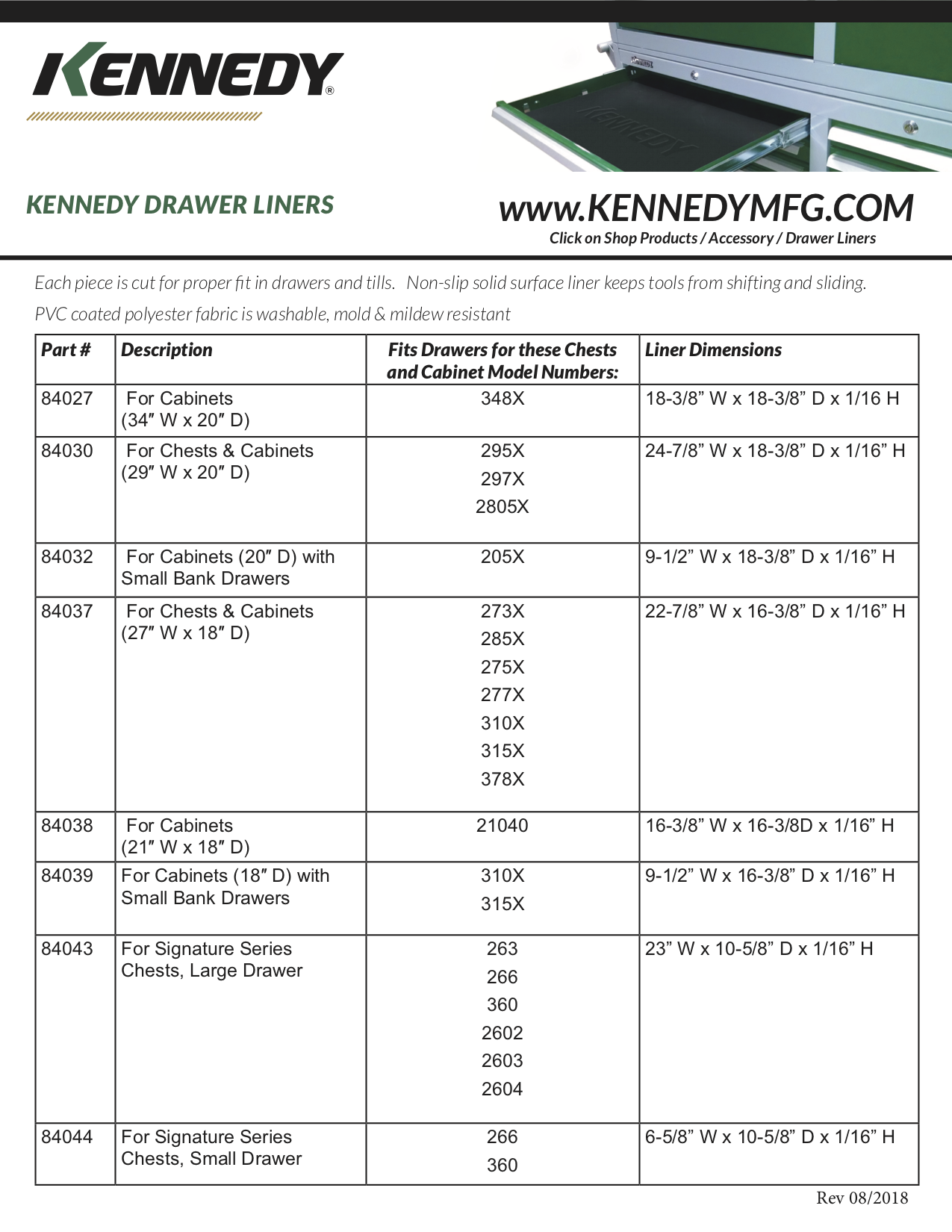 Kennedy Drawer Liners